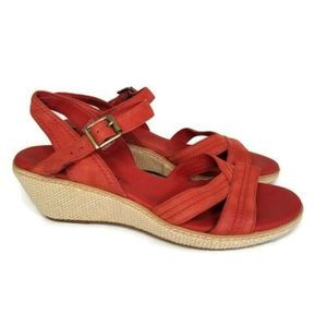 Timberland Coral Leather Wedge Sandals